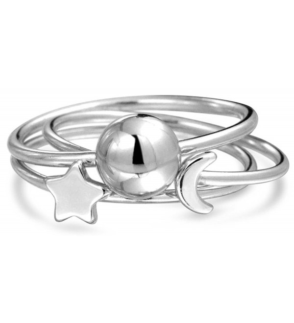 Bling Jewelry Celestial Sun Moon Star Stackable Sterling Silver Midi Ring Set - C711SFRQ655
