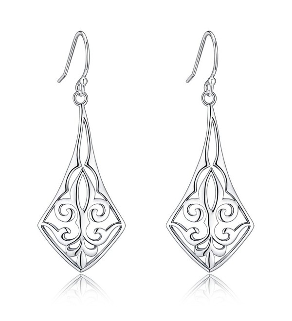 Highly Polished Sterling Silver Filigree Dangle Drop Earrings Inspired By Fleur De Lis - CO17Y0YKQTW