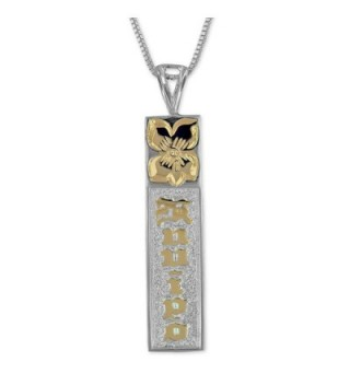 """Sterling Silver with 14kt Yellow Gold Plated Accents Kuuipo Bar Reversible Pendant Necklace- 18"""" - CB113ZSN1VL"""