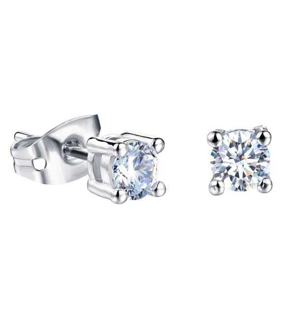 Platinum Plating Titanium Steel Princess 3A Rhinestone Stud Earrings for Womens - 4MM - CK12EWJJ1RT
