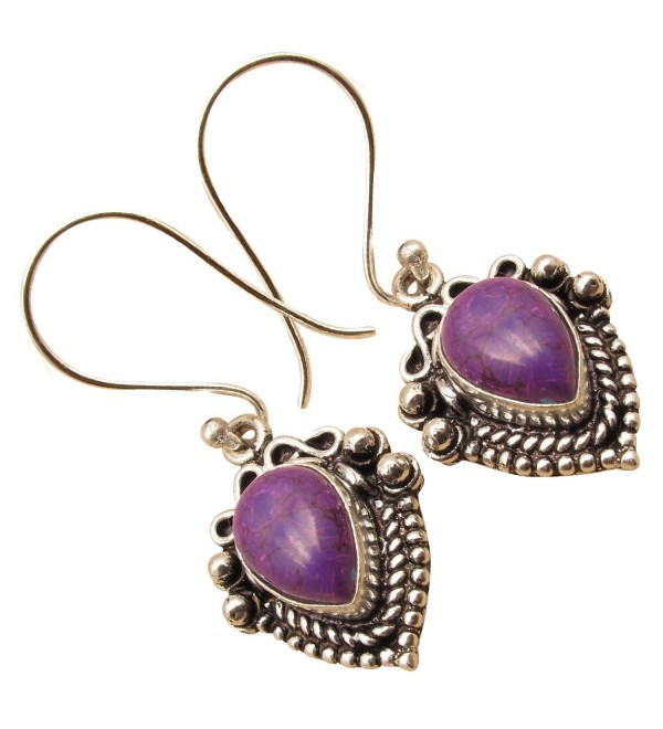 925 Silver Plated Over Solid Copper- Rare PURPLE COPPER TURQUOISE Bestseller Drop Earrings - CU12O6XJ3HR