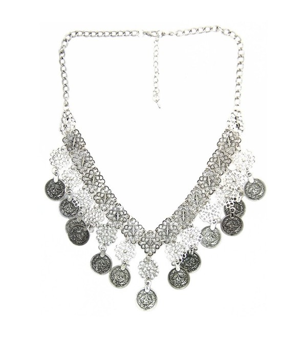 JoJo & Lin Vintage Bohemian Exaggerated Coins Antique Silver Statement Necklace for Women - C71286Z9S5P