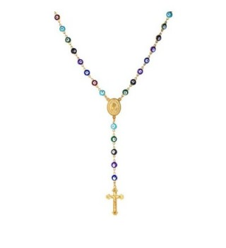 Women Mens Colorful Evil Eye Beaded Rosary Necklace With Crucifix and Medal - CP12HOSBNN5