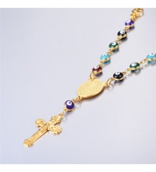 Colorful Beaded Plated Necklace Crucifix in Women's Pendants
