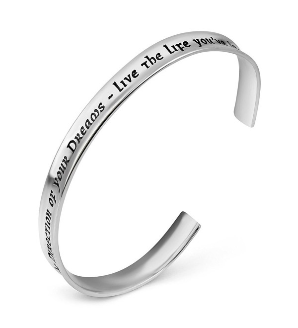 "925 Sterling Silver ""Go Confidently in The Direction OF your Dreams"" Inspiration Cuff Bracelet 7"" - CX12KAOIG2Z"
