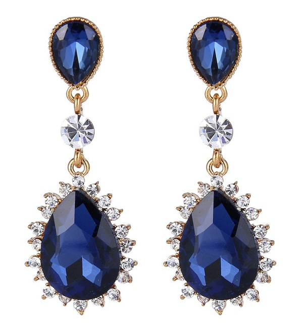 EleQueen Women's Gold-tone Austrian Crystal Party Double Teardrop Dangle Earrings - Gold-tone Sapphire Color - CO1268XQEM7