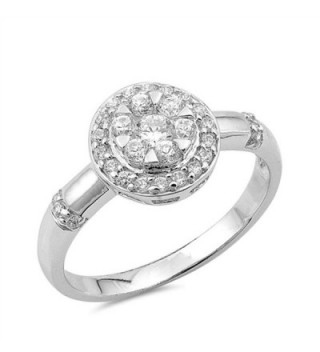 Round Cluster Halo White CZ Cute Ring New .925 Sterling Silver Band Sizes 5-9 - C712JBA96UP