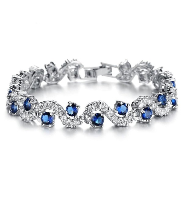 Feraco Blue Tennis Bracelet Women Cubic Zirconia Crystal Bangle Wedding Bridal Jewelry - CY1278A0VRR