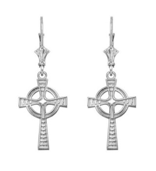 Celtic Cross Leverback Dangle Earrings 925 Sterling Silver - CB12LQ60YFT
