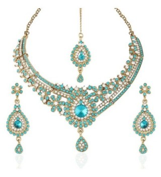 I Jewels Women's Traditional Gold Plated Stone Necklace Set With Maang Tikka Blue - C711X98NOZZ