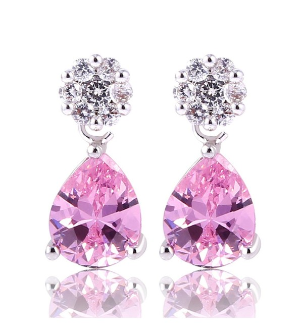 GULICX Teardrop Zircon Silver Tone Fuchsia Crystal Tear Drop Dangle Earrings for Women - pink - CD11XRSNETN