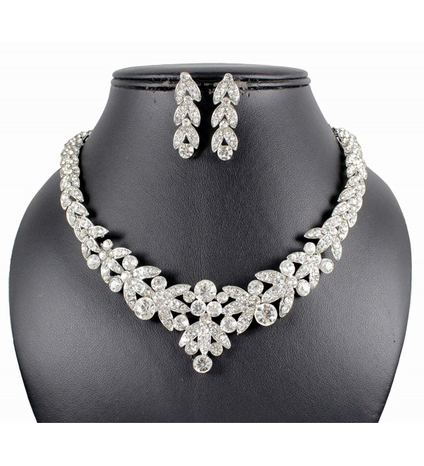 Janefashions Floral Clear Austrian Rhinestone Crystal Necklace Earrings Set Bridal Prom N1601 Silver - CE11O0DKDBV