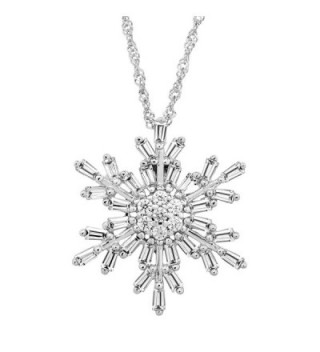 Snowflake Pendant Necklace with White Cubic Zirconia in Sterling Silver - CG182YUS5EY