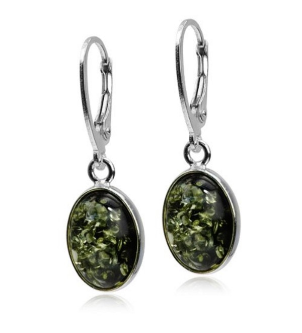 Amber Green Sterling Silver Classic Earrings - C8115DH0N9P