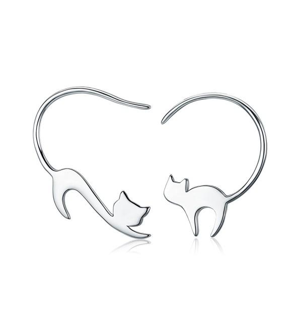 Presentski Cat Hoop Earrings 925 Sterling Silver Kitty Eardrop Birthday for Women - CB189K3Y3XK