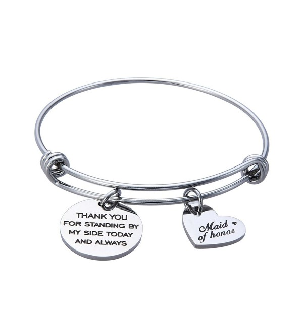 Jewelady Bracelet Stainless Expandable Bridesmaid - Thank you for standing by my side today and always - C21860Y9HA3