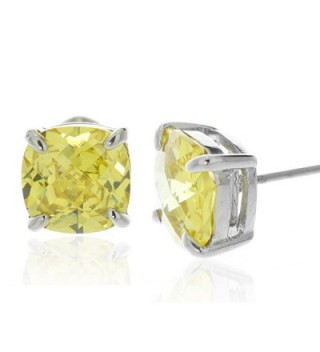 Sterling Silver 4.00 TCW Simulated Citrine CZ Cushion Cut Prong Set Stud Earrings (8mm each) - CK11JTBXWZ3