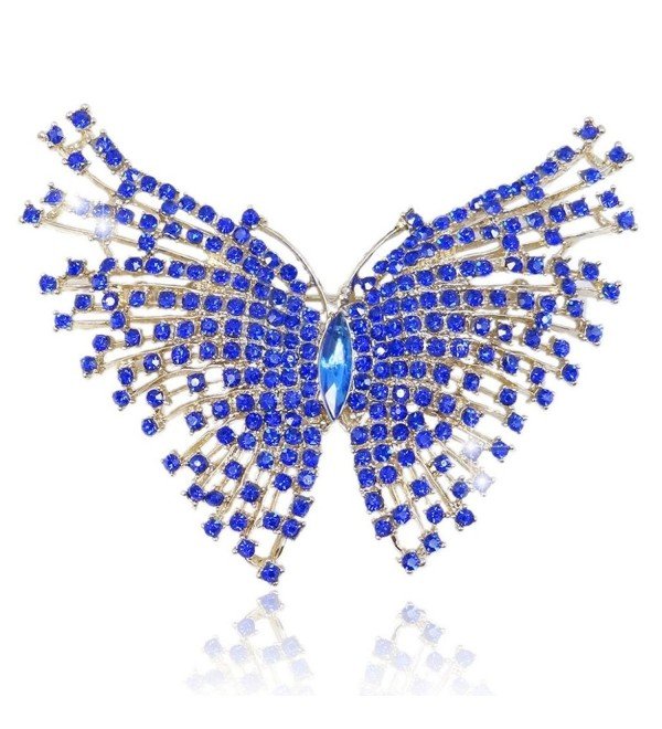EVER FAITH Women's Austrian Crystal Adorable Butterfly Insect Animal Brooch Blue Gold-Tone - C811BGDPY2B