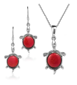 Happy Turtles Reconstructed Red Coral .925 Stering Silver Necklace Earrings Set - CN12L0JDNY1