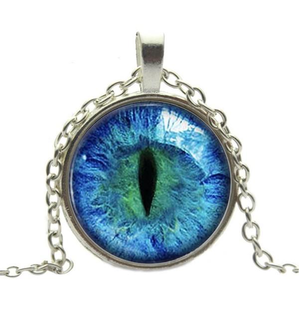 Adecco LLC 2Pcs Vintage Dragon Cat Eye Glass Cabochon Silver/Brown Plated Pendant Necklace - blue - CJ17Y4XA8IH