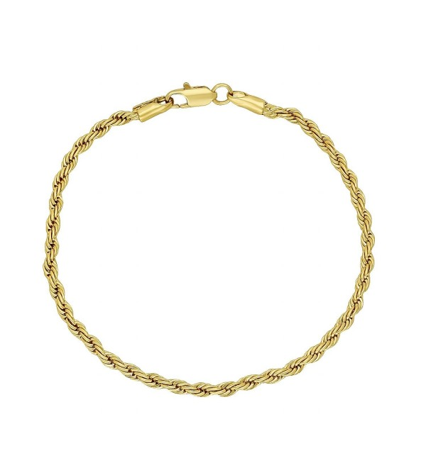Thin 3mm 14k Gold Plated Braided Rope Link Rounded Chain Bracelet + Microfiber Jewelry Polishing Cloth - CK11UMQBTQX