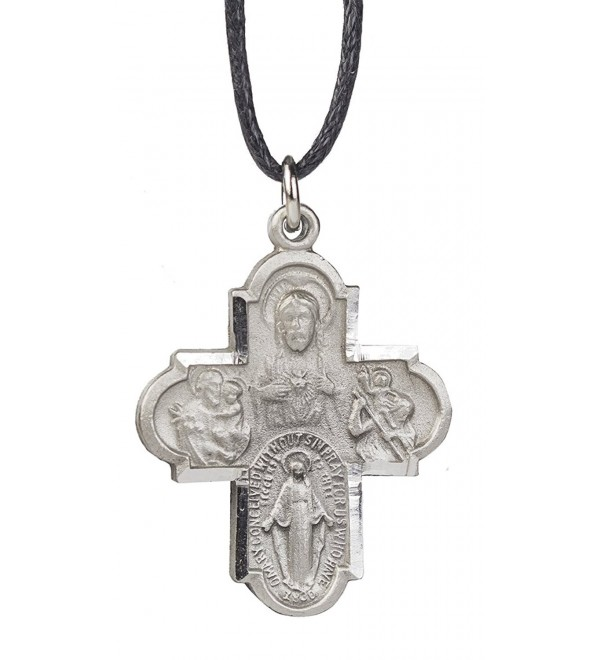 Four Way Medal of St. Christopher- St. Joseph- Jesus and Mary with a Black Leather Cord- 24 - Inch - C7114S5CNJB