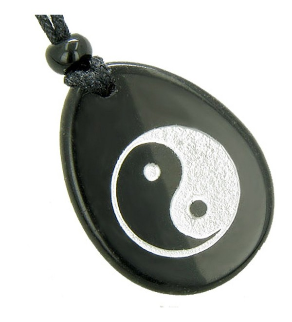 Lucky Ying Yang Balance Amulet Black Agate Word Stone Pendant Necklace - CR113ZZ5XYR
