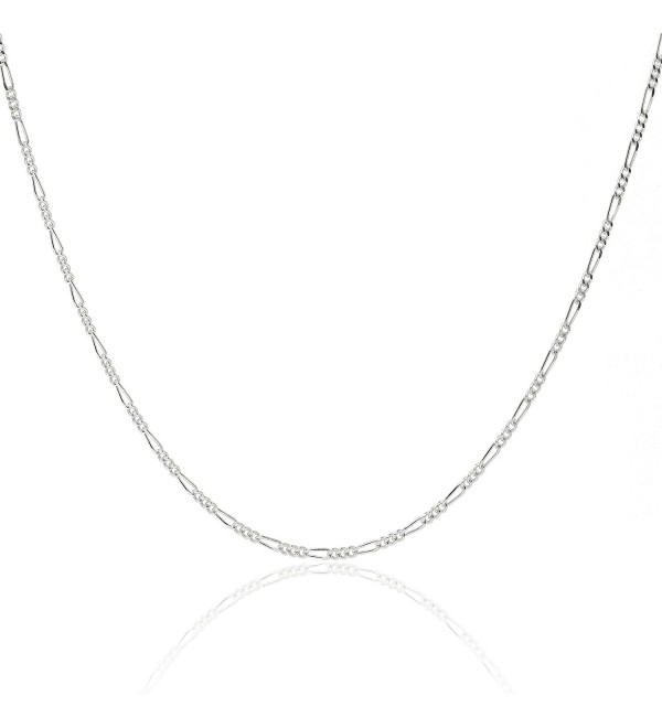 "925 Sterling Silver 1.8MM Figaro Chain - Italian Crafted Necklace For Women - Lobster Claw Clasp - 16-30"" - CX12I45HM4V"