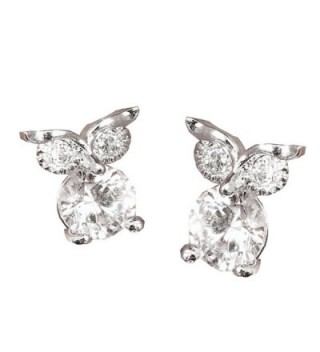 18K white gold plated owl AAA+ Zirconia crystal dimond stud earrings women - CH187ZQ2CN7