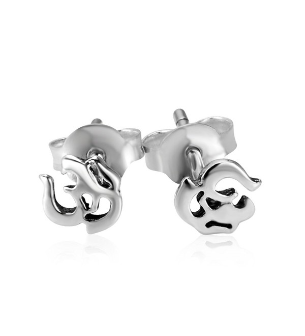 925 Sterling Silver Aum- Om- Ohm- India Symbol Stud Earrings (5 mm) - CD11TU9OUU5