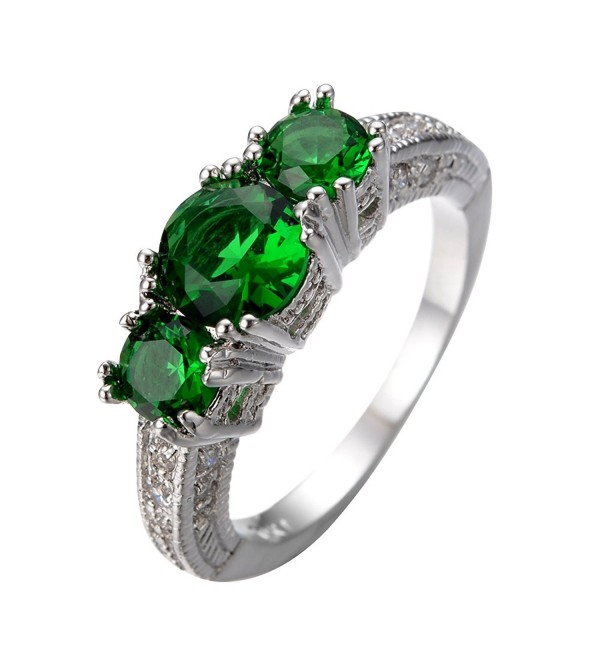 Junxin Dainty White Gold Round Three Stone Emerald Ring for Anniversary Size5/6/7/8/9/10/11/12 - CR12DODBX2Z