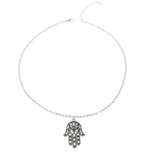 JY Jewelry Silver-Plated Vintage Lucky Hamsa Hand Pendant Necklace - CX11VM1LRN7