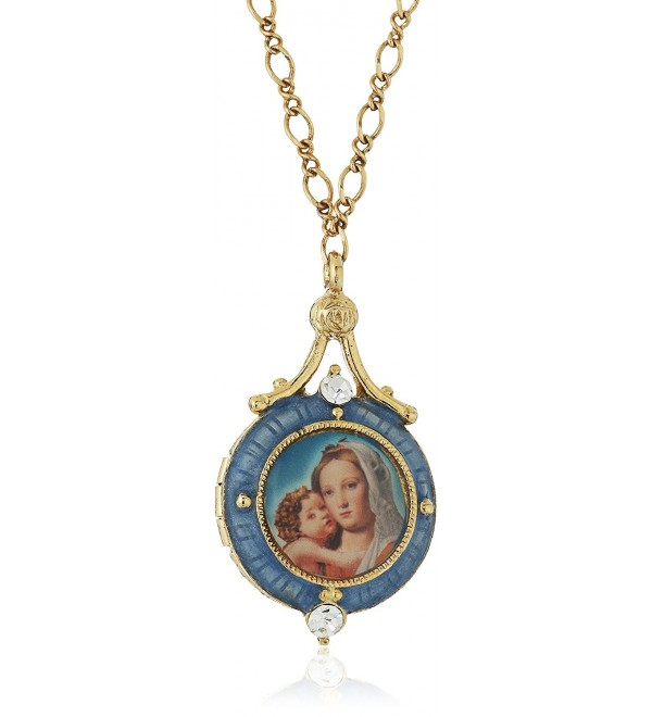 "Symbols of Faith ""Inspirations"" 14k Gold-Dipped Blue Enamel Mary and Child Locket Necklace- 17.5"" - CQ126XGZPGP"