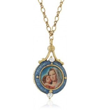 """Symbols of Faith """"Inspirations"""" 14k Gold-Dipped Blue Enamel Mary and Child Locket Necklace- 17.5"""" - CQ126XGZPGP"""