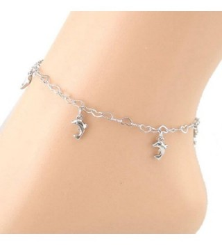 SusenstoneHeart-shaped Chain Dolphins Women Anklet Bracelet Sandal Beach Foot Jewelry - CH11A0UTLXN