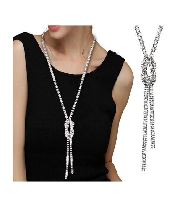Z-Jeris Women Trendy Crystal Pendant Long Chain Tassel Necklace - Silver - CB18205W5Q3