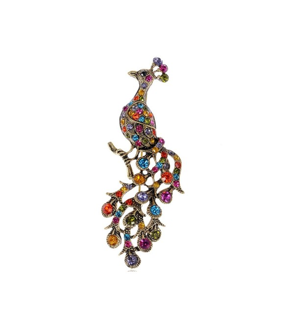 Alilang Rainbow Crystal Rhinestone Perched - Antique Gold Rainbow - C5116E0Y26Z
