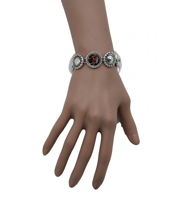 TFJ Women Texas Lone Star Western Fashion Cowgirls Jewelry Wrist Bracelet Silver Metal Classic Style - CF12C6CJ53T