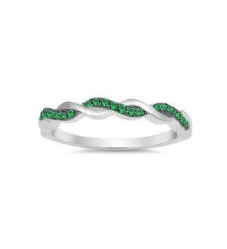 .925 Sterling Silver May Birthstone CZ Winding Stackable Ring - C6187R2X9U0