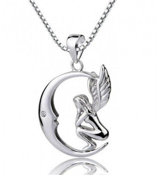 Sterling Silver Fairy with Angel Wings Face to Moon Pendant Necklace- 18'' - CJ12F2PFLSZ