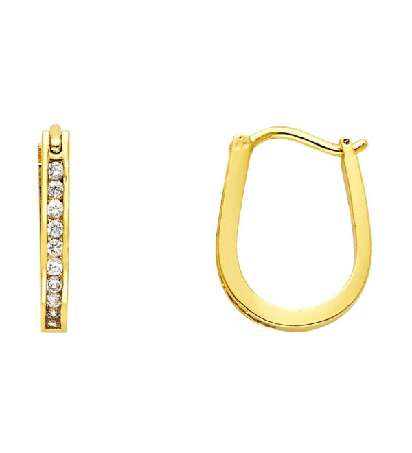 14k Gold Plated Brass 2mm Channel-set Hoop Huggy Earrings - CC11DGTAXEL