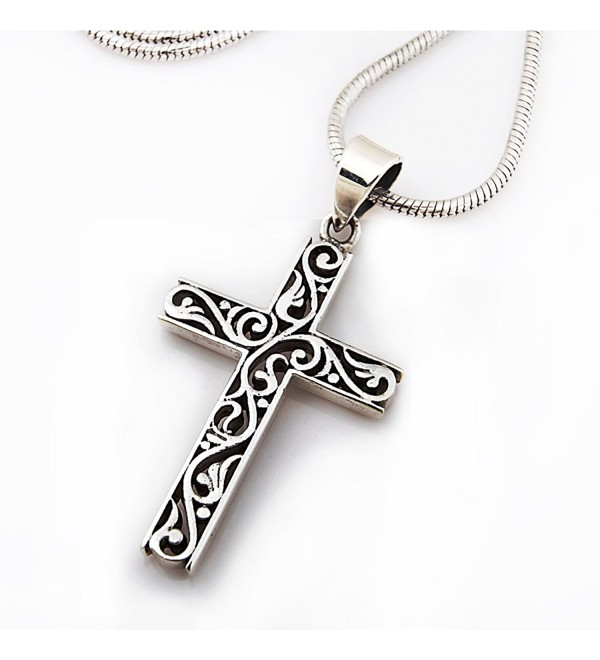 925 Sterling Silver Filigree Celtic Cut-Out Cross Pendant on Alloy Necklace Chain- 18 inches - CA11KEKCYNJ