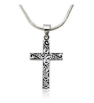 Sterling Filigree Cut Out Pendant Necklace in Women's Pendants