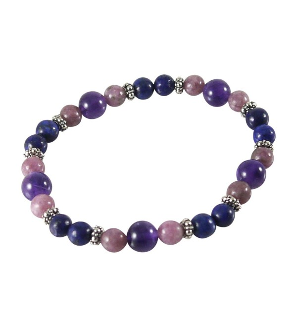 "Lapis Bracelet with Lepidolite- Amethyst- 7 1/4""- Sterling Silver- Stretch - CY12BG42DE1"