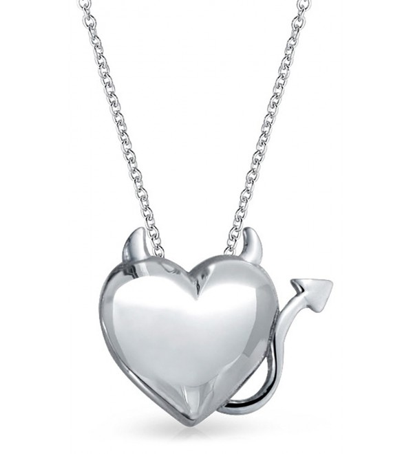 Bling Jewelry Devil Heart Pendant Sterling Silver Necklace 16 Inches - CI11OHS7XAH
