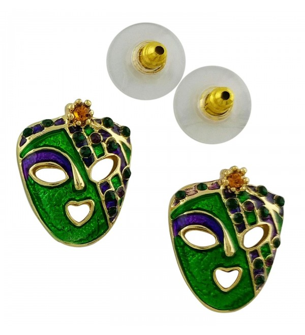 Mardi Gras Mask Post Earrings | Gold Plated Gold- Green and Purple with Crystal - CG189H0IHMN