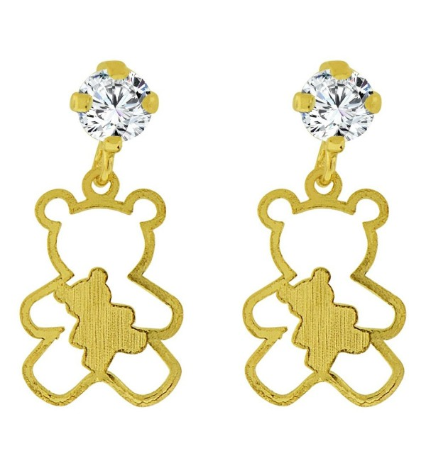 14k Yellow Gold- Small Teddy Bear Silhouette Dangling Stud Screw Back Earring Created CZ - CD1172VK63D