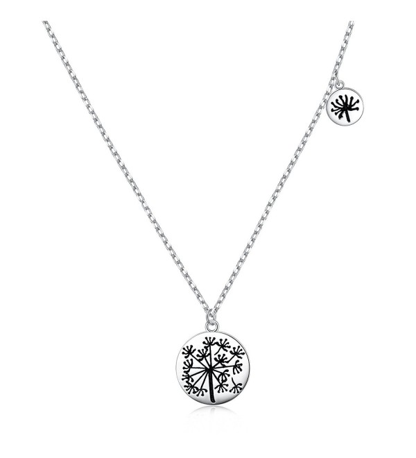 "925 Sterling Silver Mother and Child Infinity Love Dandelion / Birds Charm Necklace for Women Girls-18"" - CS186NYD49S"