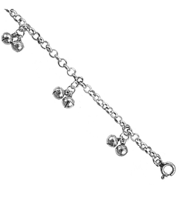 Sterling Silver Double Jingle Bells Anklet 12mm wide- fits 9 - 10 inch ankles - C3111D6GT57