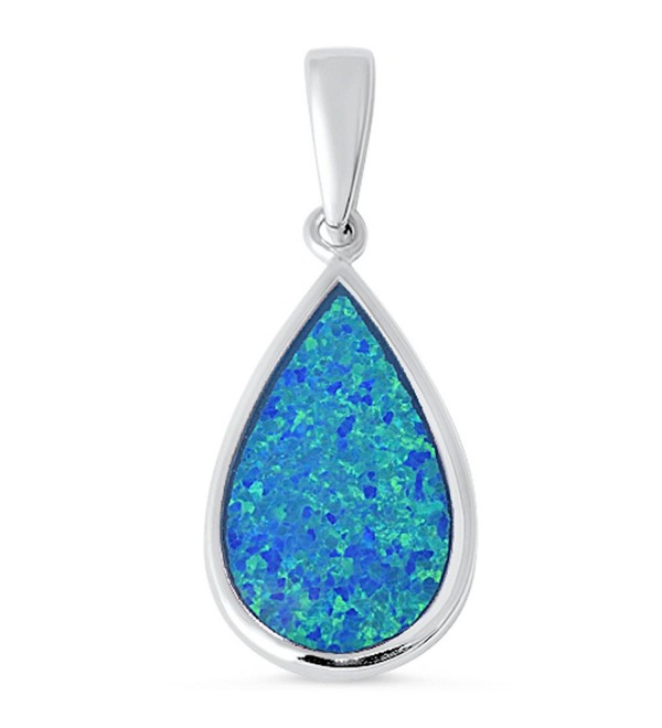Tear Drop Lab Created Blue Opal .925 Sterling Silver Pendant - C1125R6ZC5B